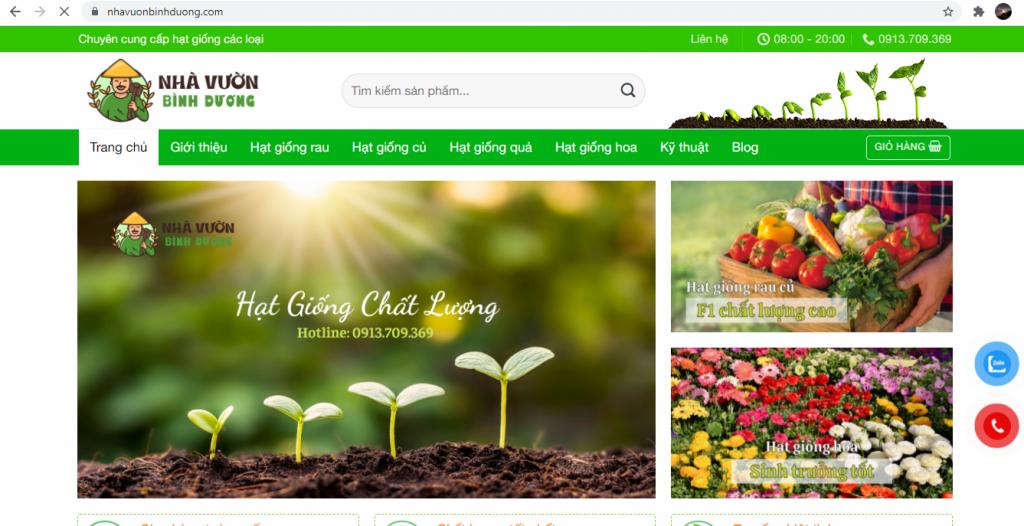 Cho thuê website bán hạt giống tại Bình Dương