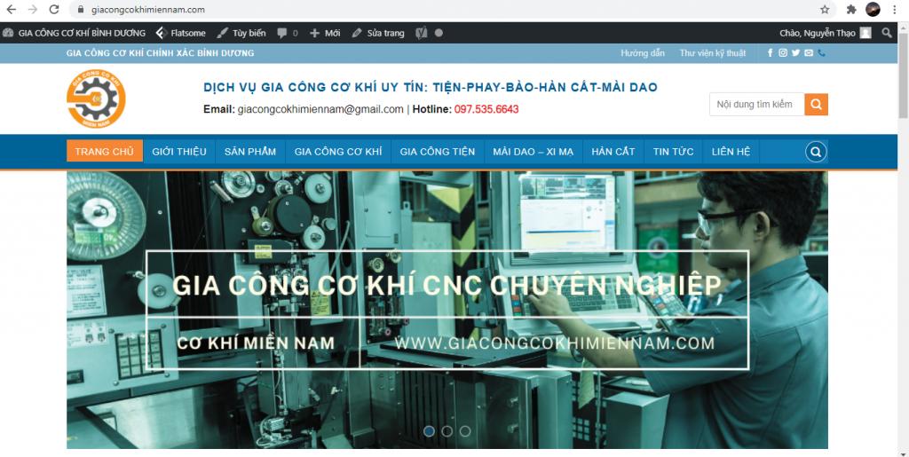 Cho thuê Website lĩnh vực gia công cơ khí tại Bình Dương